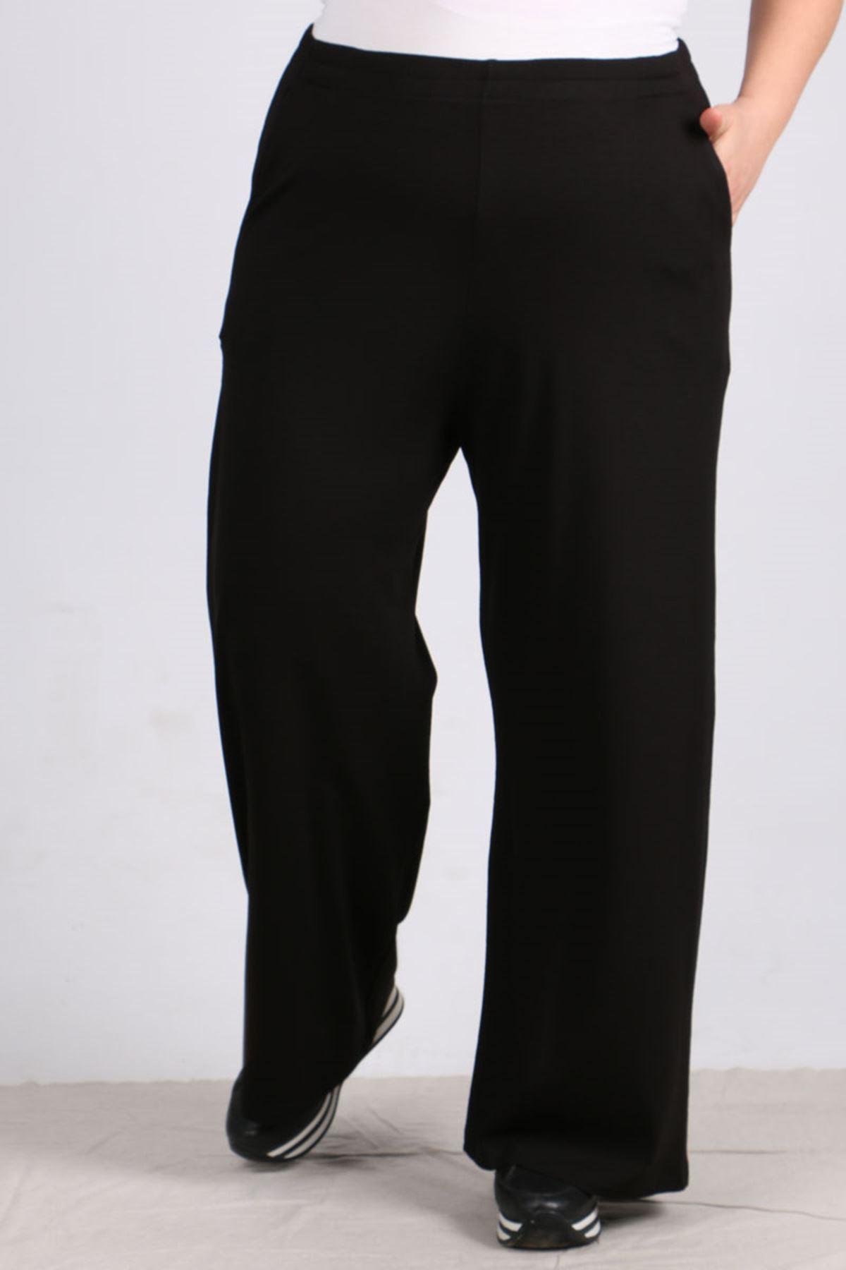 D-9012-3 Büyük Beden Defolu Beli Lastikli Penye Pantolon -Siyah
