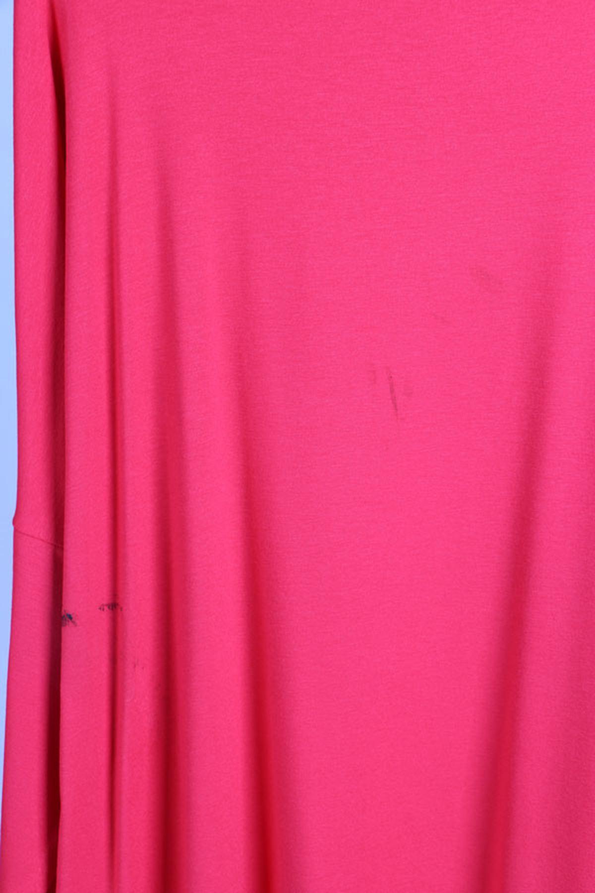 D-8455-3 Büyük Beden Defolu Düşük Kol Penye Tunik - Kırmızı