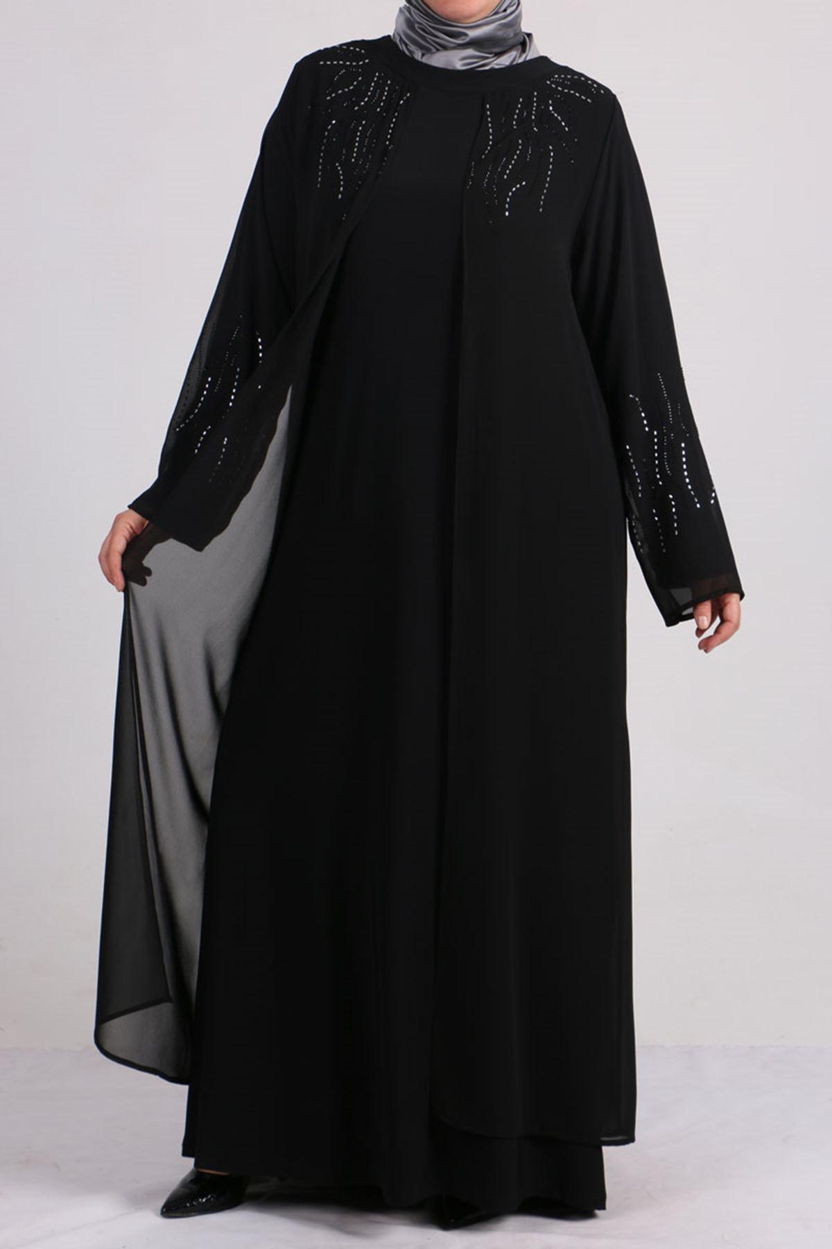 D-2086 Büyük Beden Defolu  Sandy-Şifon Taş Baskılı Abiye Elbise - Siyah