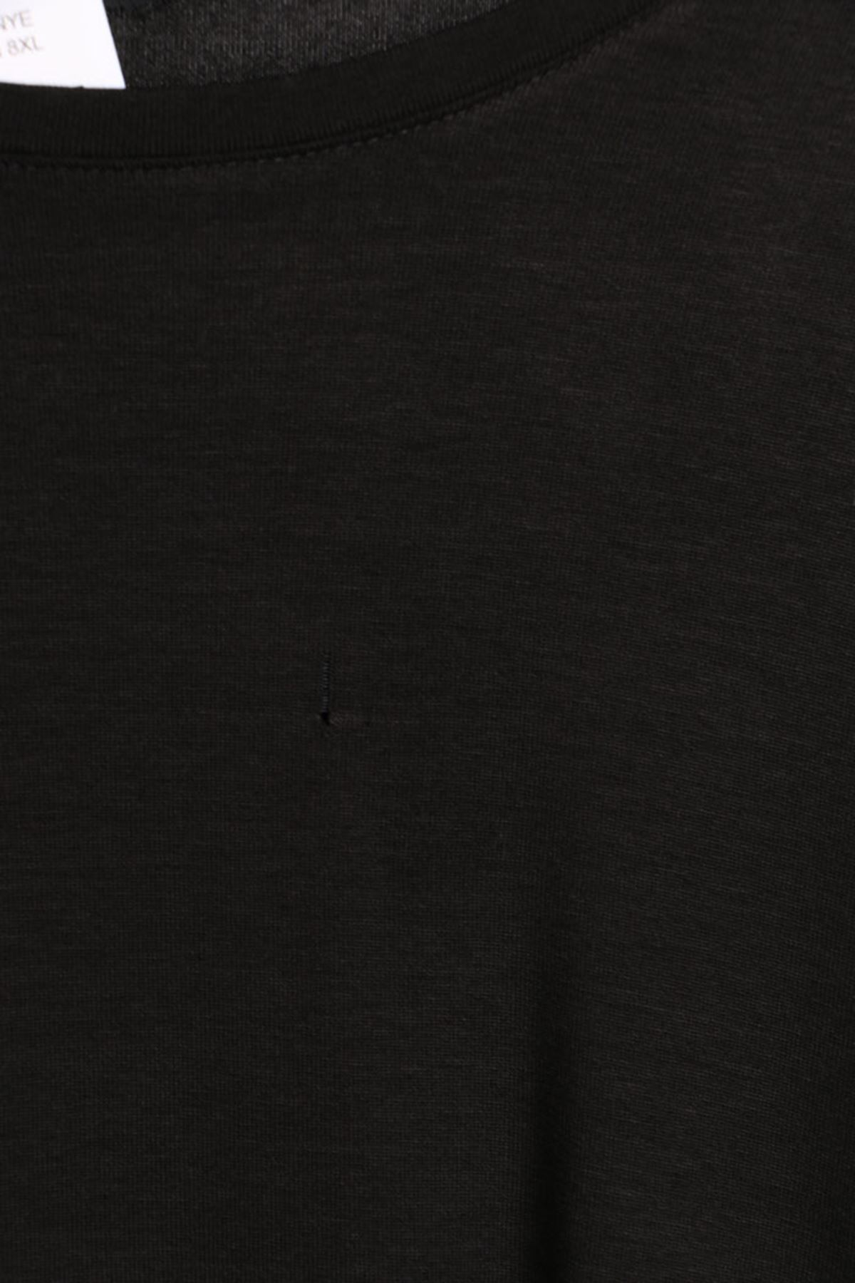 D-8506-1 Büyük Beden Defolu Penye Basic Tunik-Siyah