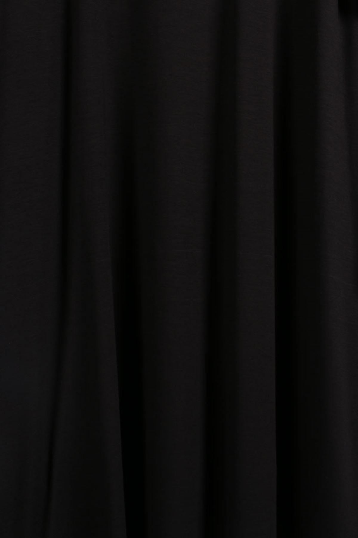 D-8506 Büyük Beden Defolu Penye Basic Tunik-Siyah