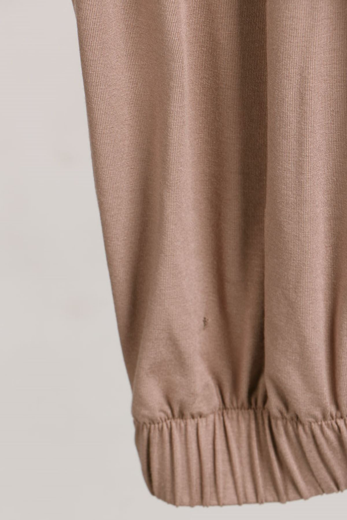 D-9150 Büyük Beden Defolu Lastikli Penye Pantolon - Vizon