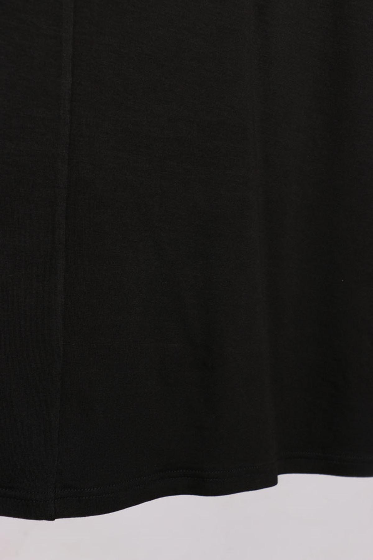 D-17112 Büyük Beden Defolu Penye Tunik- Siyah