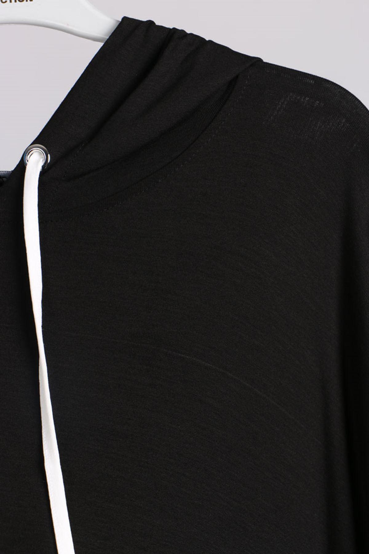 D-17689 Büyük Beden Defolu Şeritli Penye Tunik - Siyah