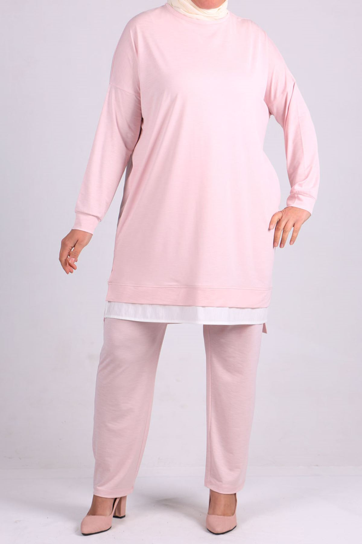 7677 Plus Size Garnished Two Piece Set with Tunic and Pants- Powder