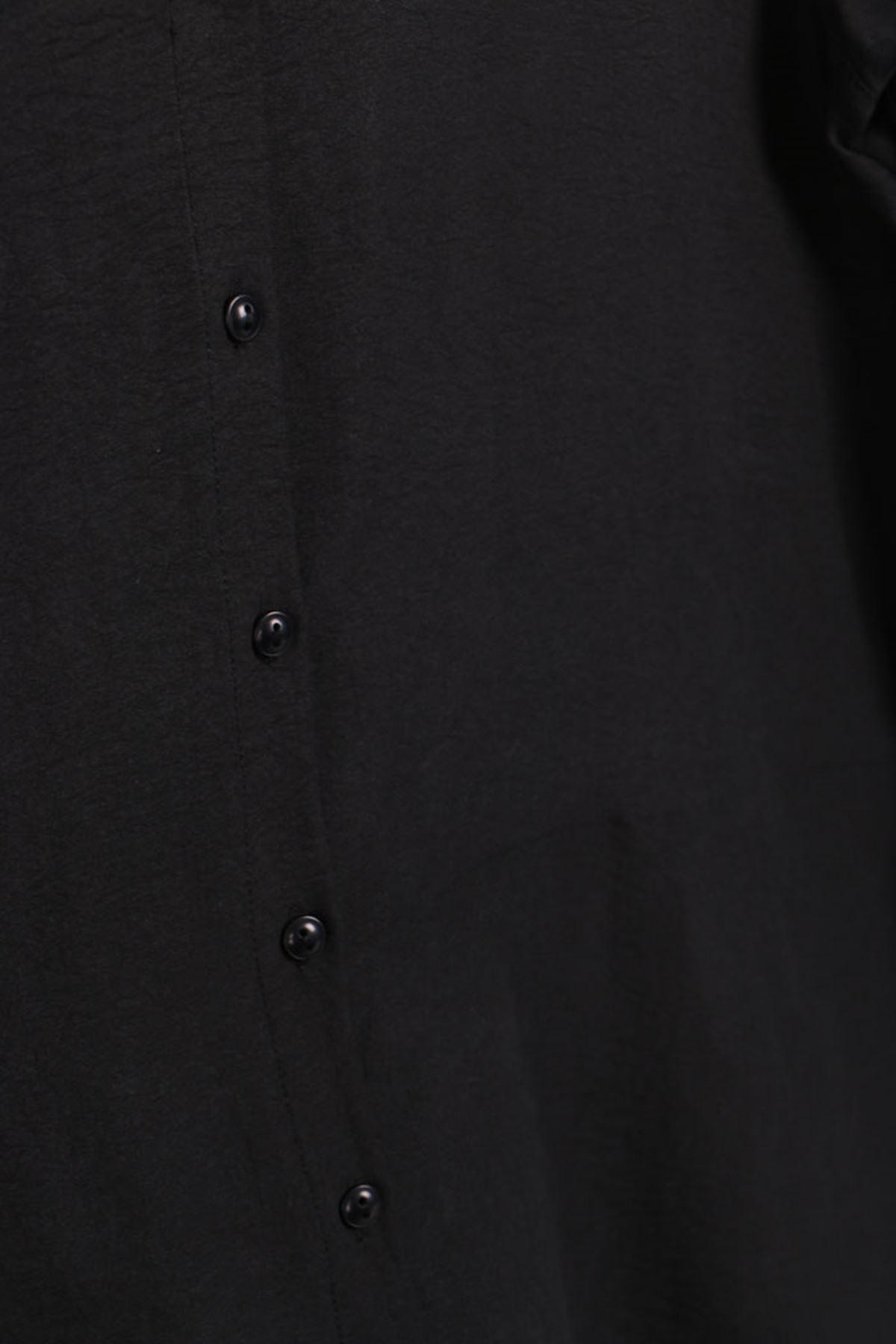 D-8458 Büyük Beden Defolu Düğmeli Mucize Gömlek - Siyah