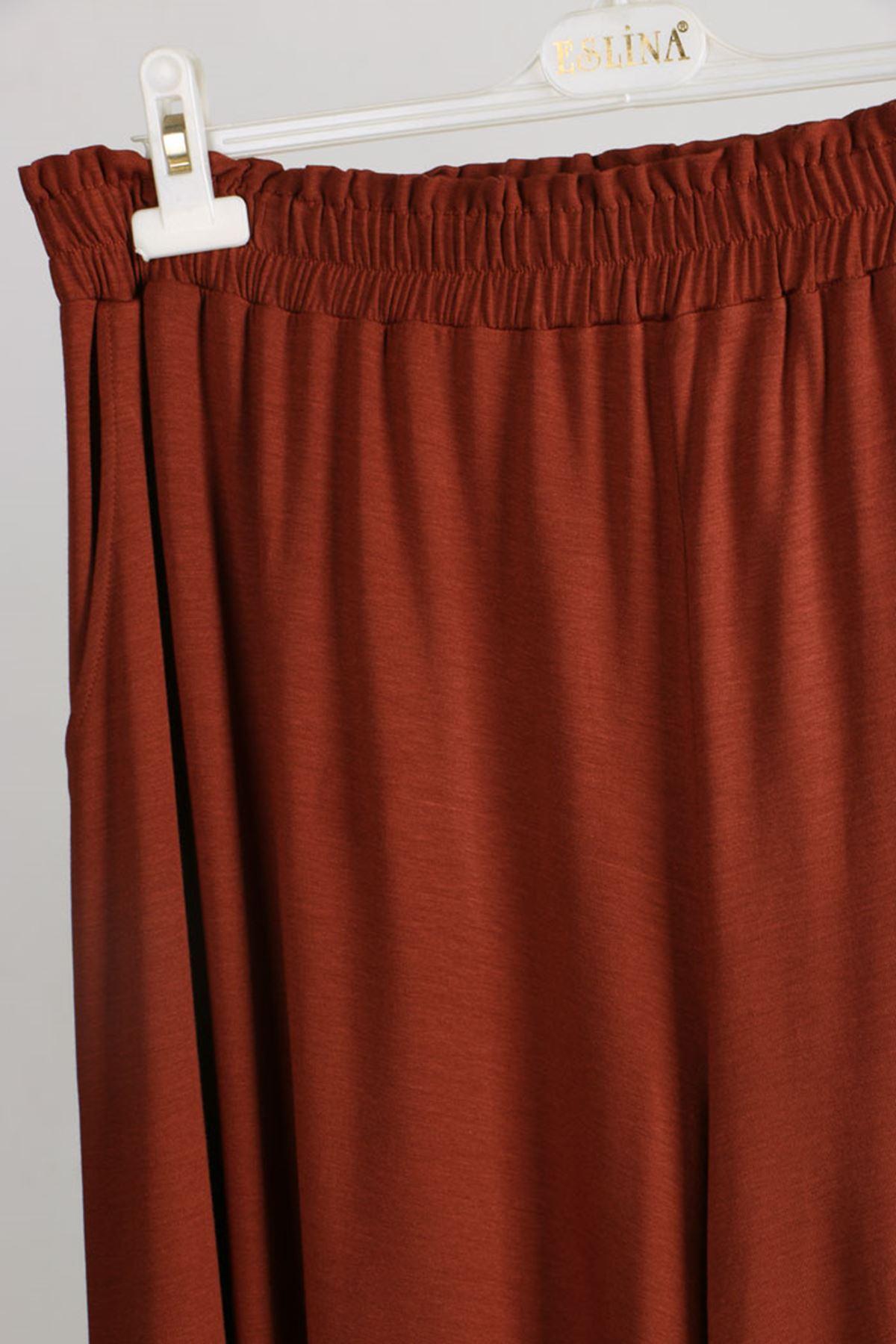 D-9079 Büyük Beden Defolu Penye Geniş Paça Pantolon - Kiremit