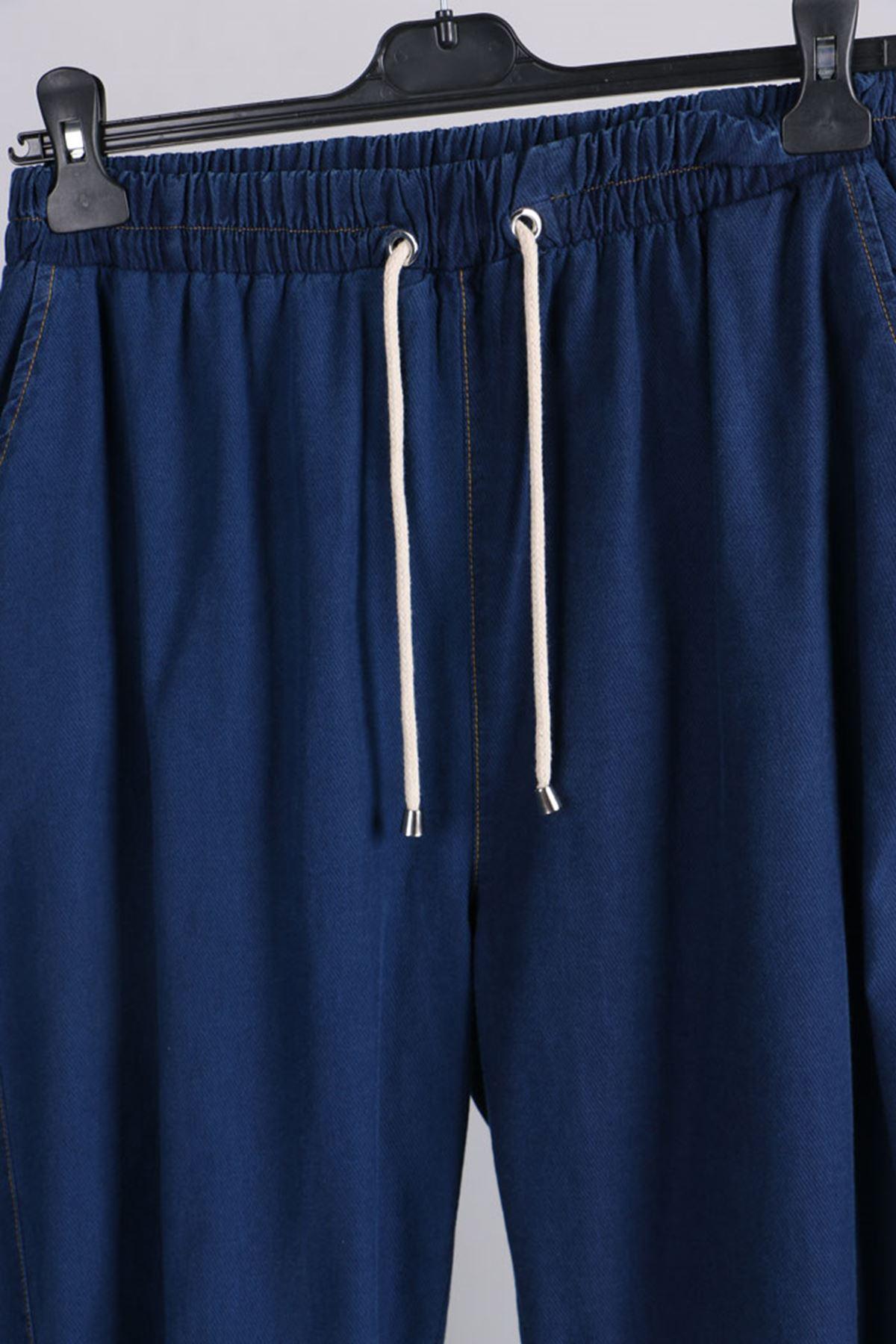D- 9123 Büyük Beden Defolu Beli Lastikli Dar Paça Kot Pantolon-Açık Lacivert