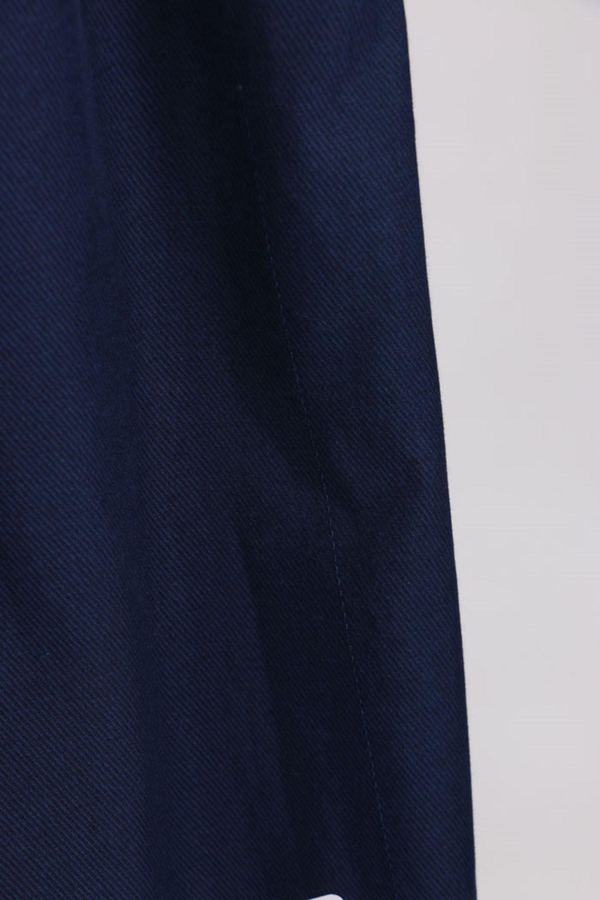 D-9124 Büyük Beden Defolu Beli Lastikli Bol Paça Kot Pantolon-Lacivert