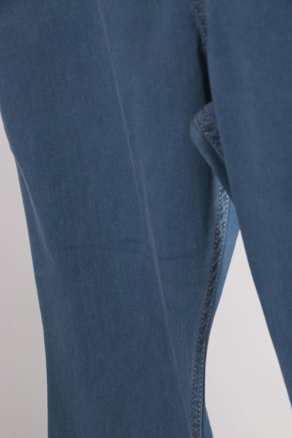 D-9137-2 Büyük Beden Defolu Beli Lastikli İspanyol Paça Kot Pantalon-Bebe Mavi