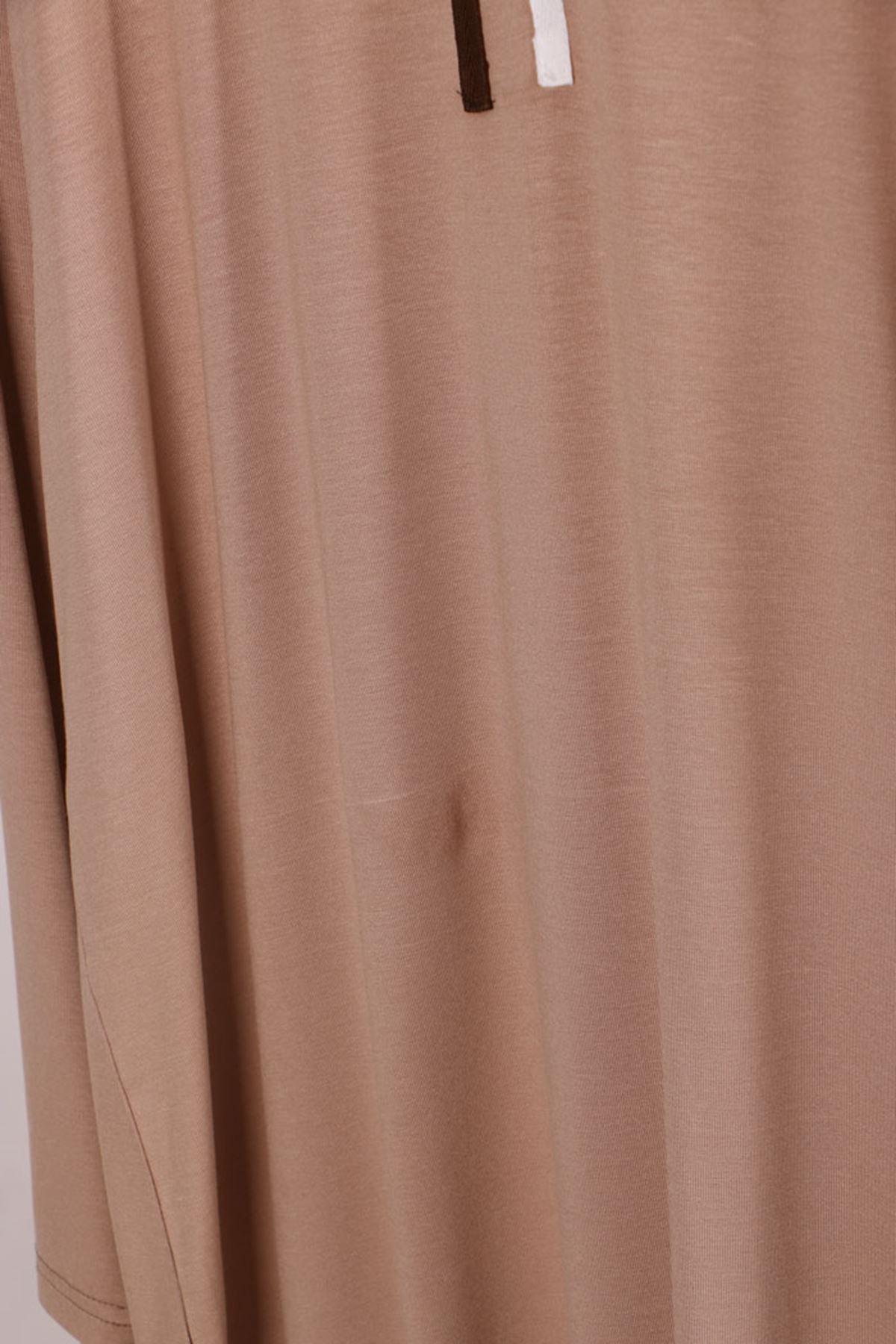 D-17700 Büyük Beden Defolu Penye Şeritli Tunik - Taş