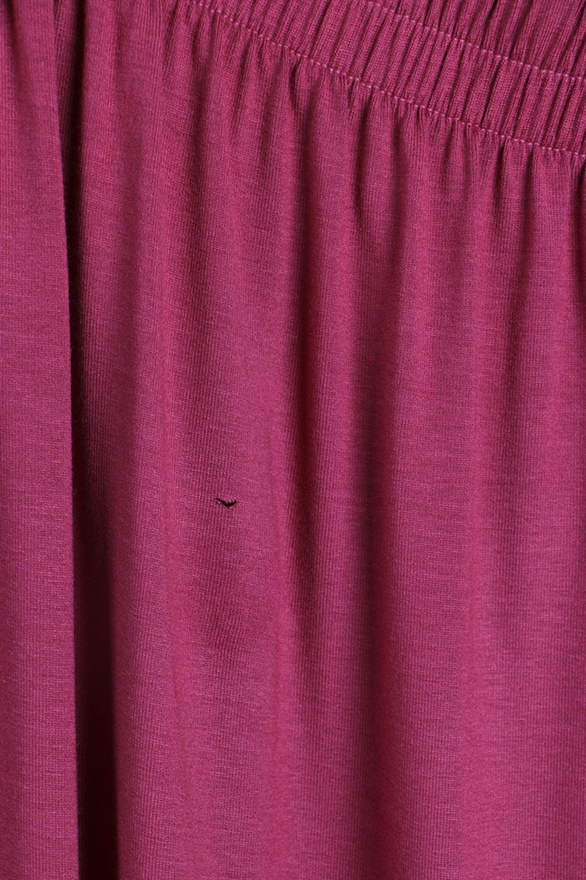D-27700-1 Büyük Beden Defolu Penye Şeritli Pantolon-Koyu Gül