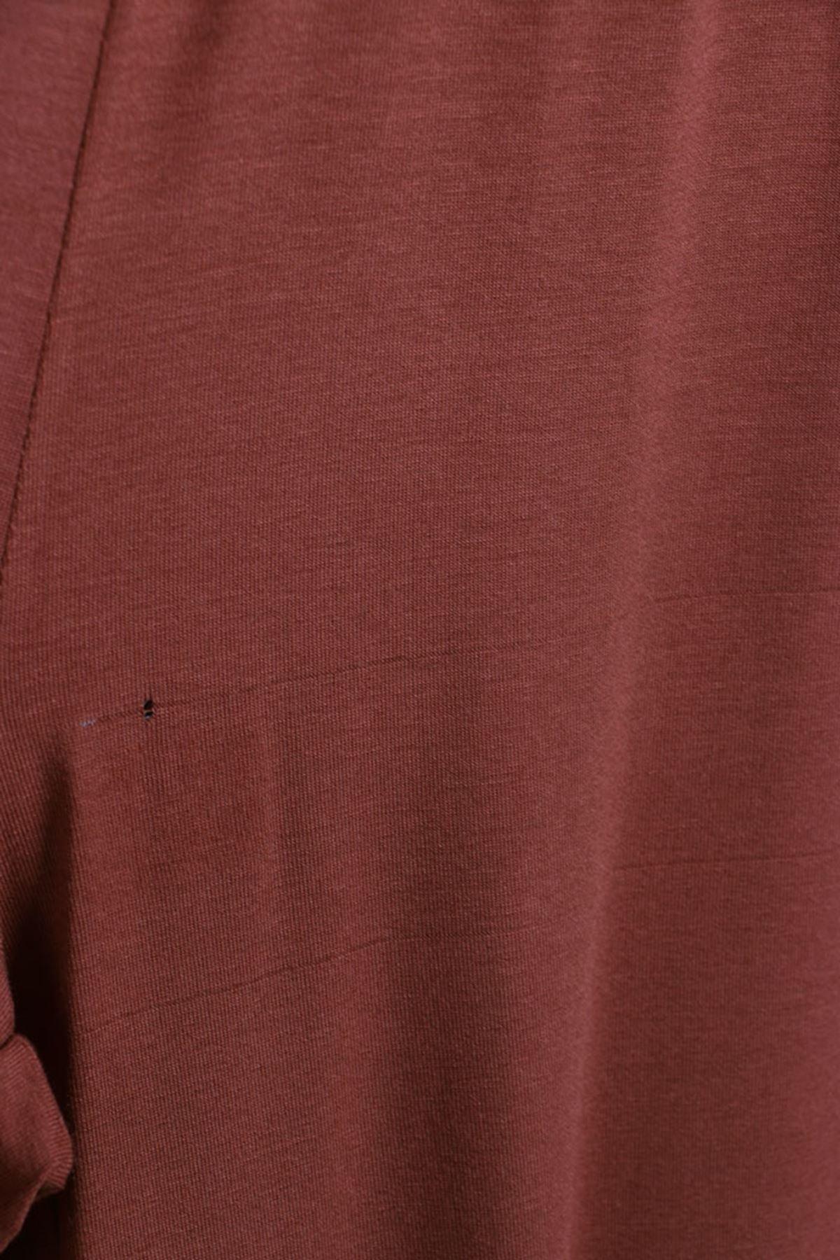 D-27700 Büyük Beden Defolu Penye Şeritli Pantolon-Kiremit