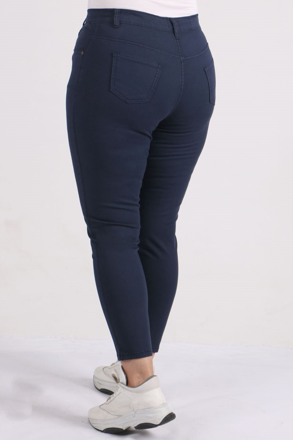 9115 Plus Size Skinny Leg Pants - Navy blue