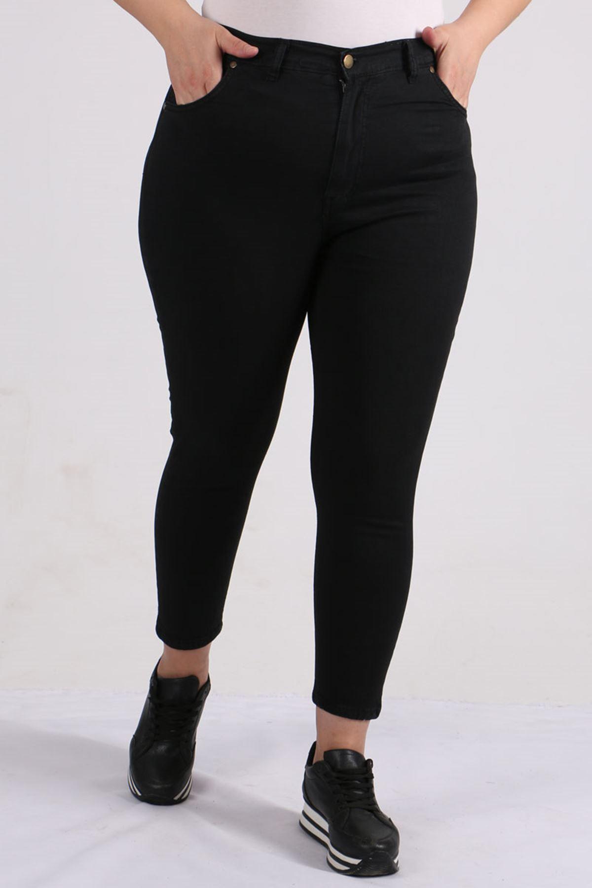 9115 Plus Size Skinny Leg Pants - Black