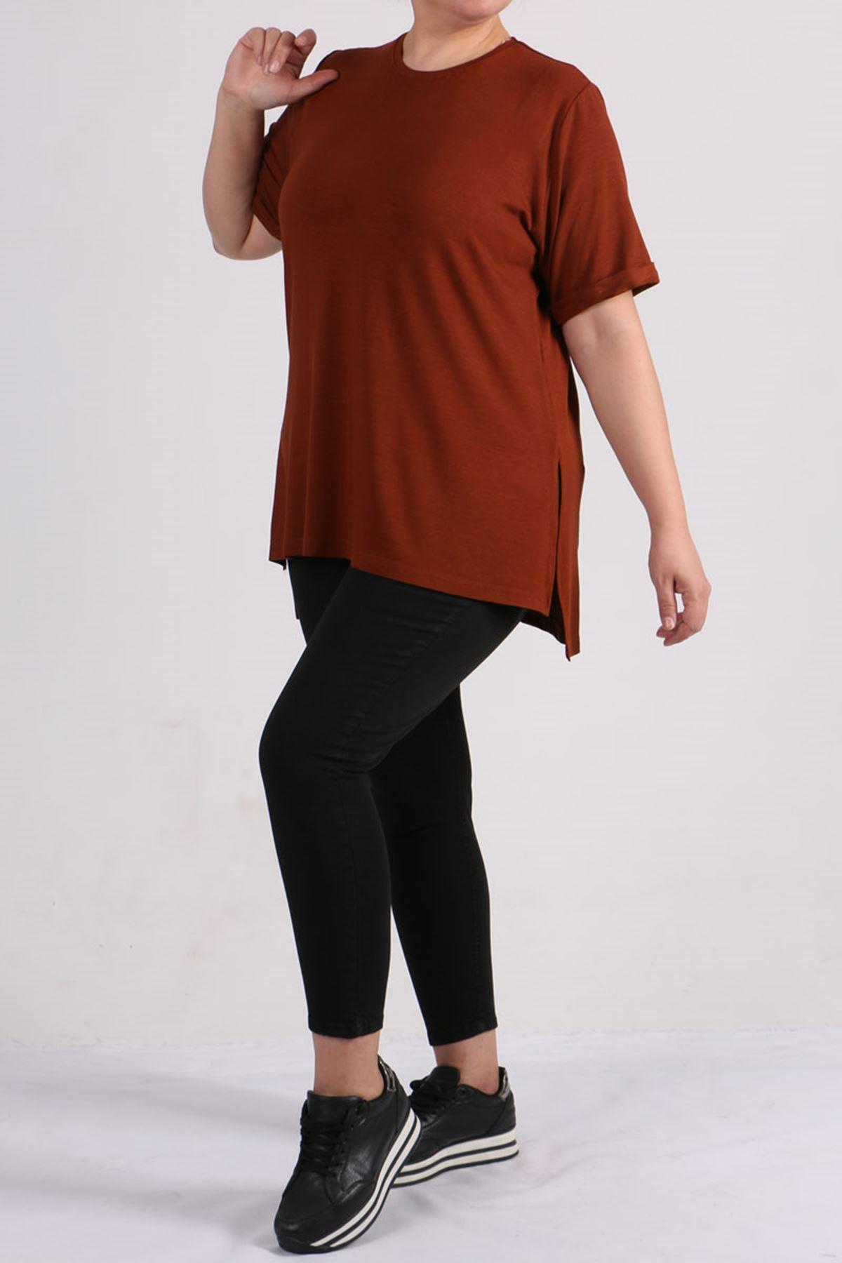 8529 Plus Size Basic T-shirt - Terra Cotta