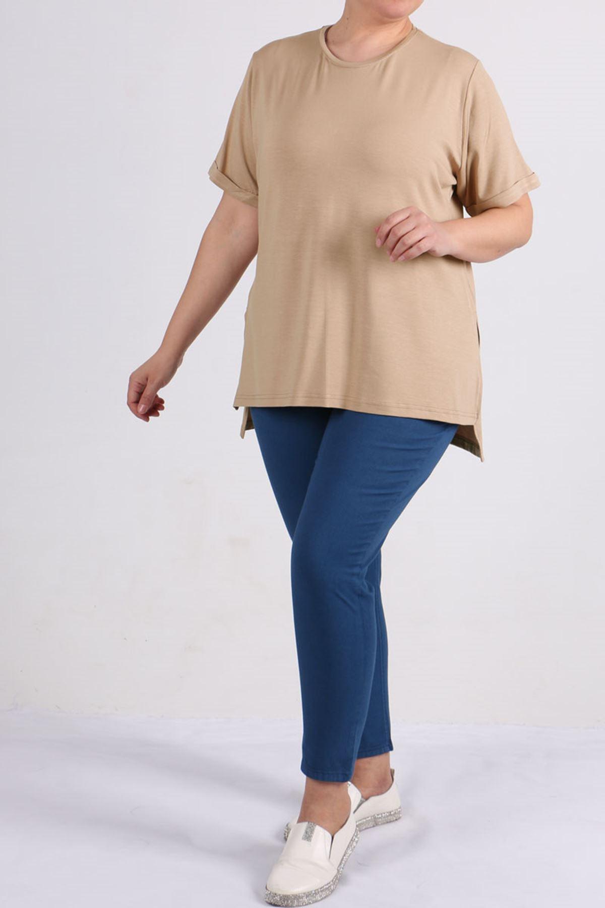 8529 Plus Size Basic T-shirt - Stone