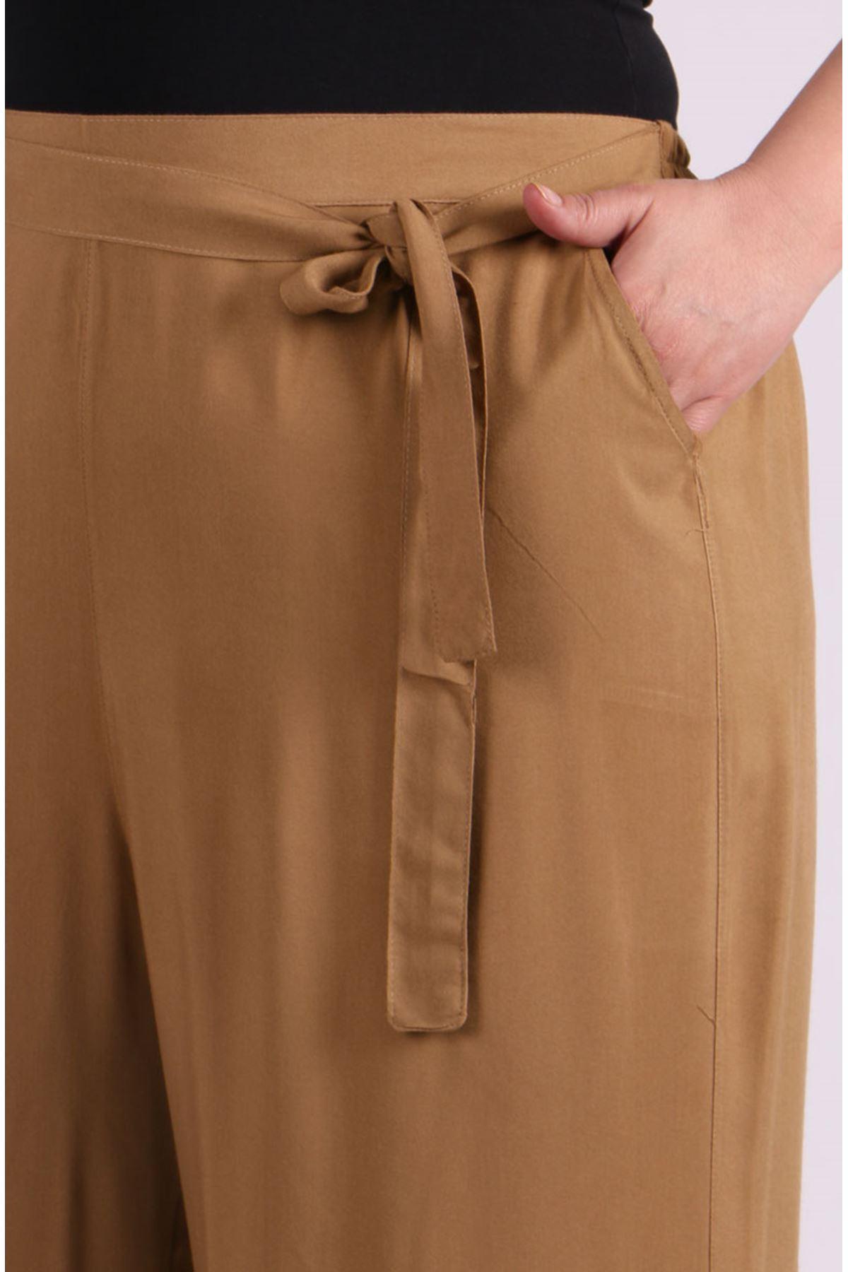 9156 Plus Size  Pants - Mılk Coffee