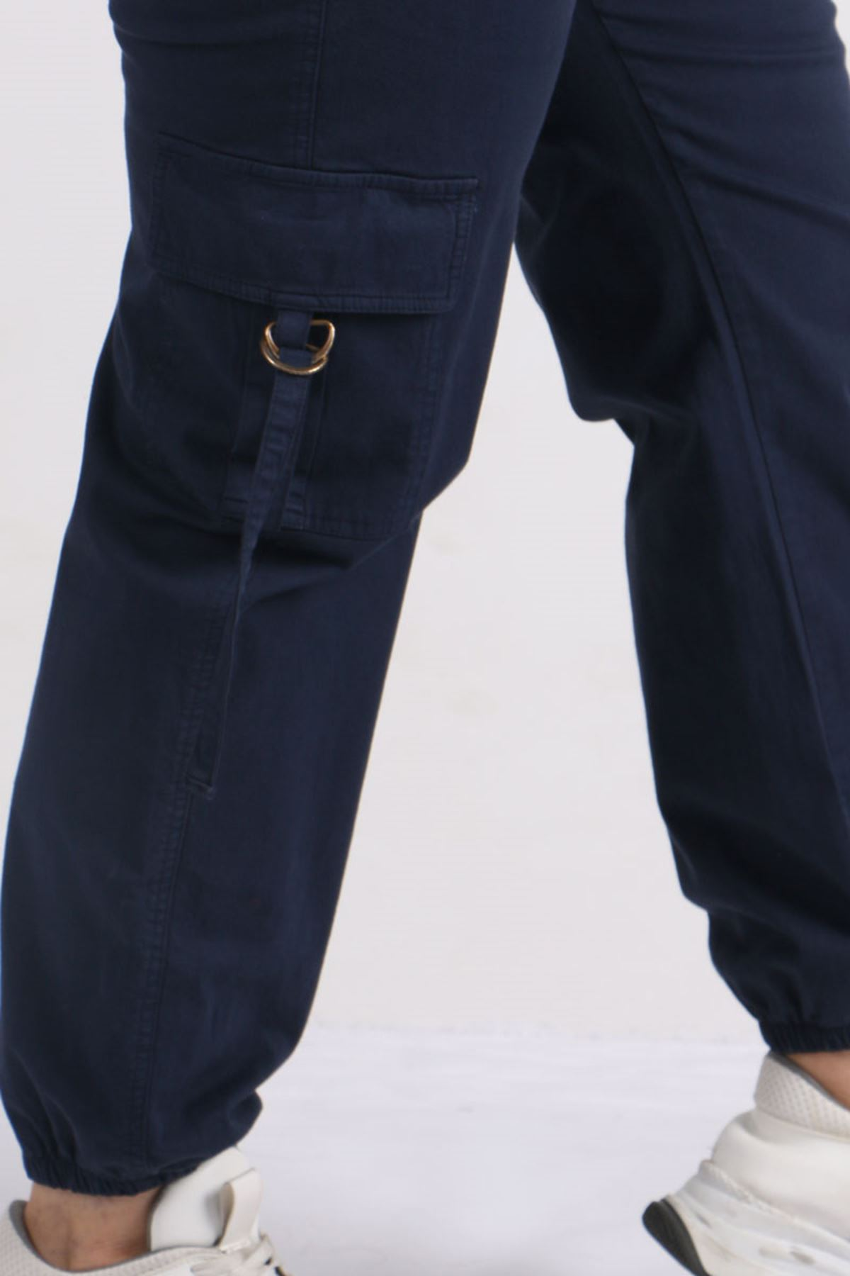 9128 Plus Size Cargo Pants with Pockets - Navy blue
