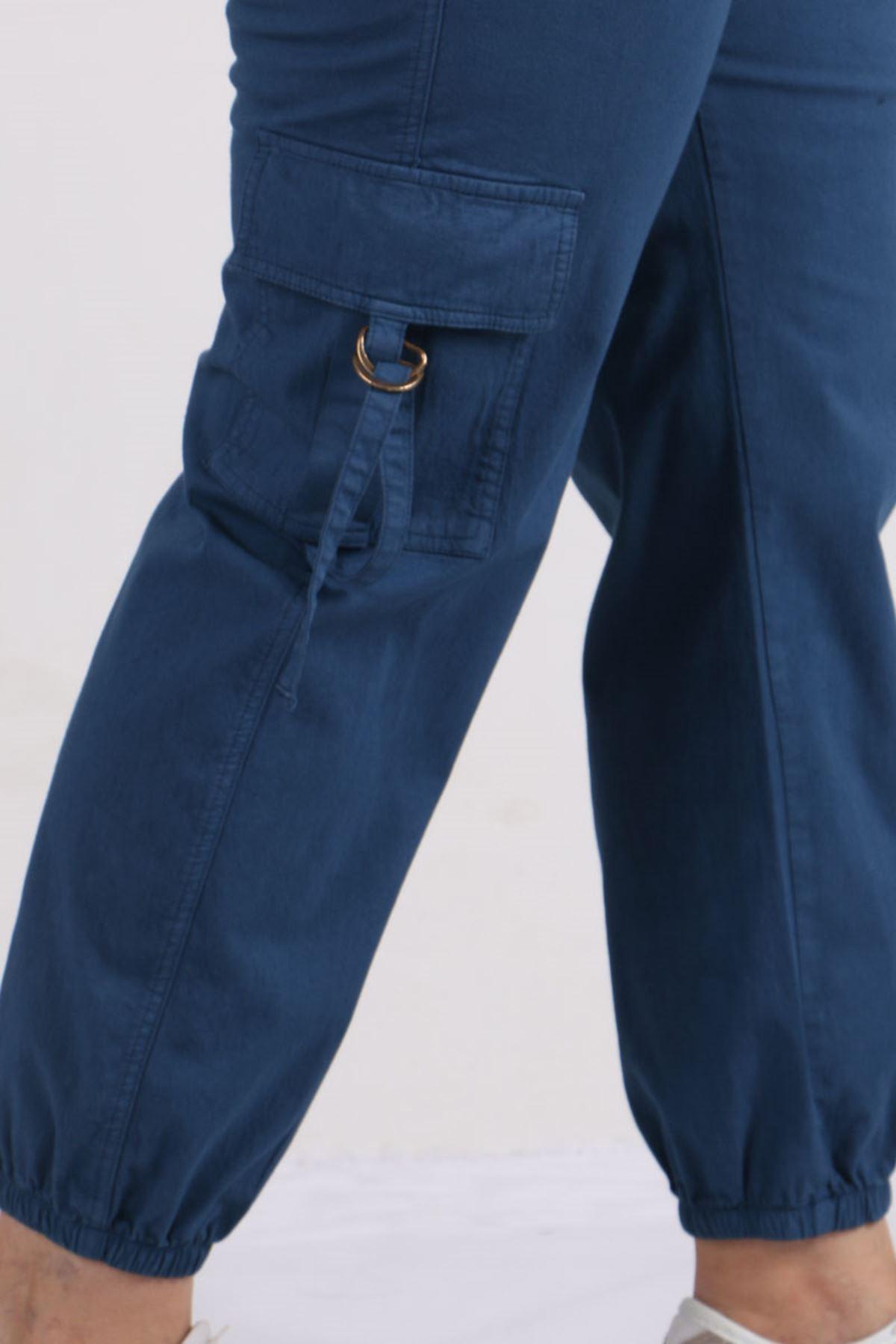 9128 Plus Size Cargo Pants with Pockets - Indigo