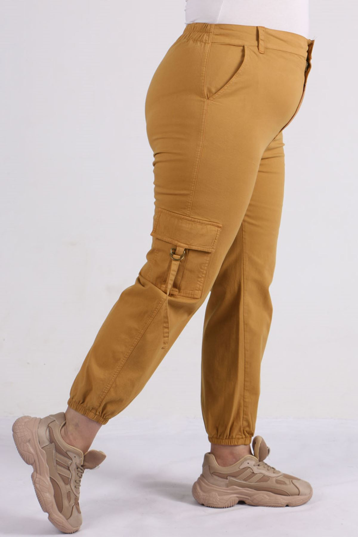 9128 Plus Size Cargo Pants with Pockets - Tan