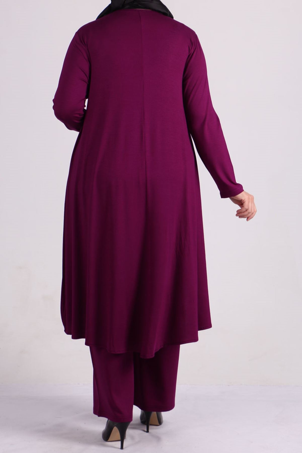 7598 Plus Size Two Piece Set with Tunic and Pants- Plum