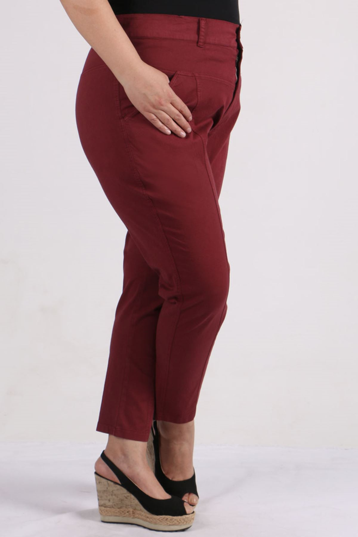 9134 Plus Size Pants with Belt - Claret Red