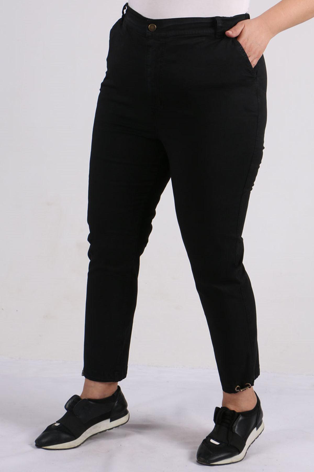 9133 Plus Size Gabardine Pants - Black