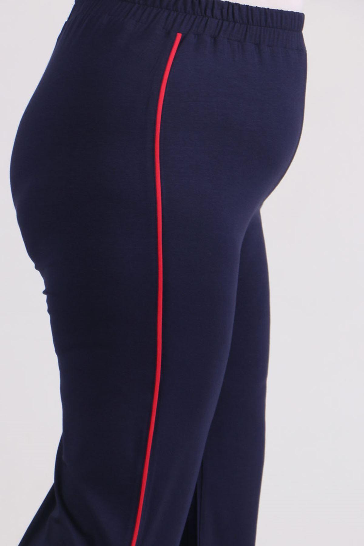 9534 Plus Size Combed Cotton Sweatpants - Navy Blue