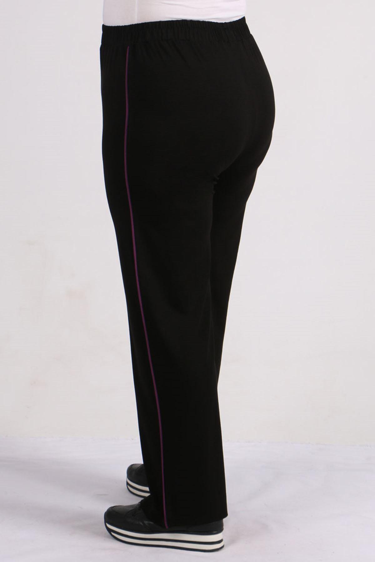 9534 Plus Size Combed Cotton Sweatpants - Black
