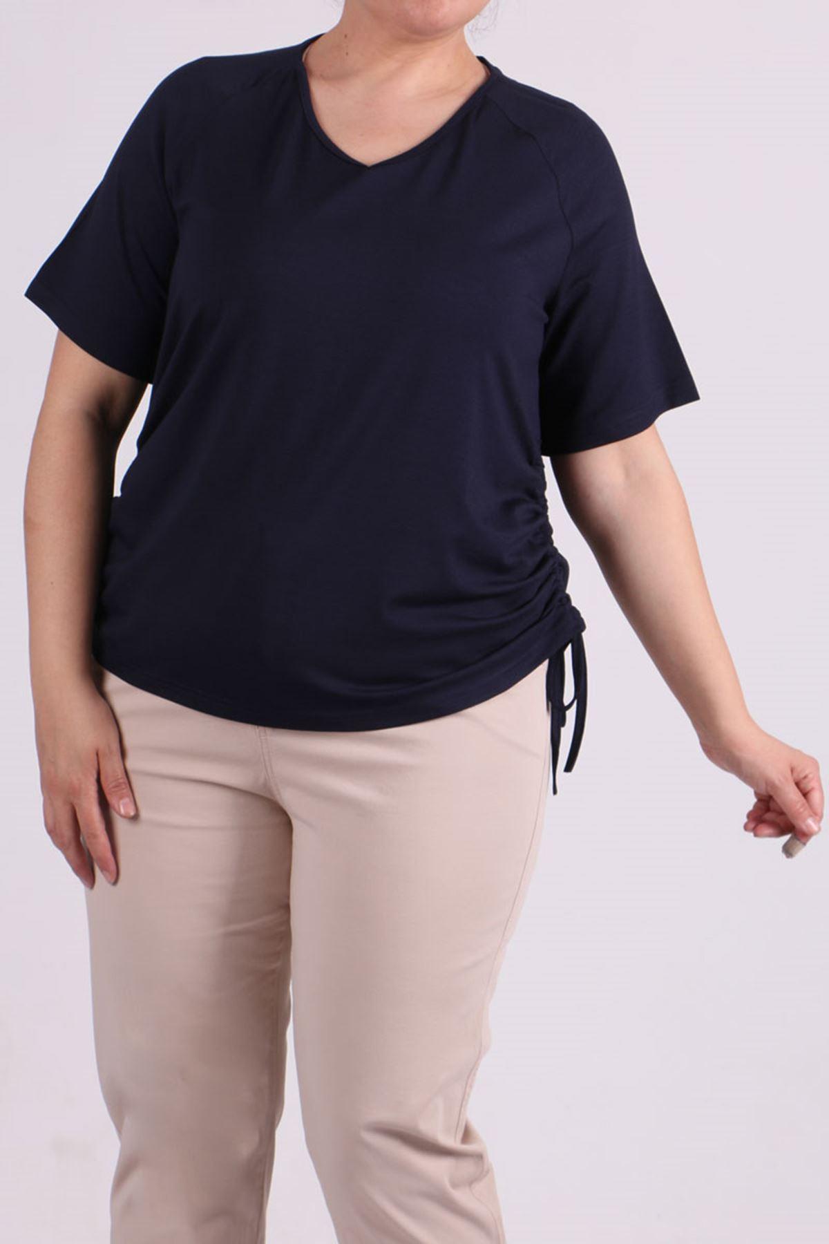 8530 Plus Size Raglan Sleeve T-Shirt - Navy Blue