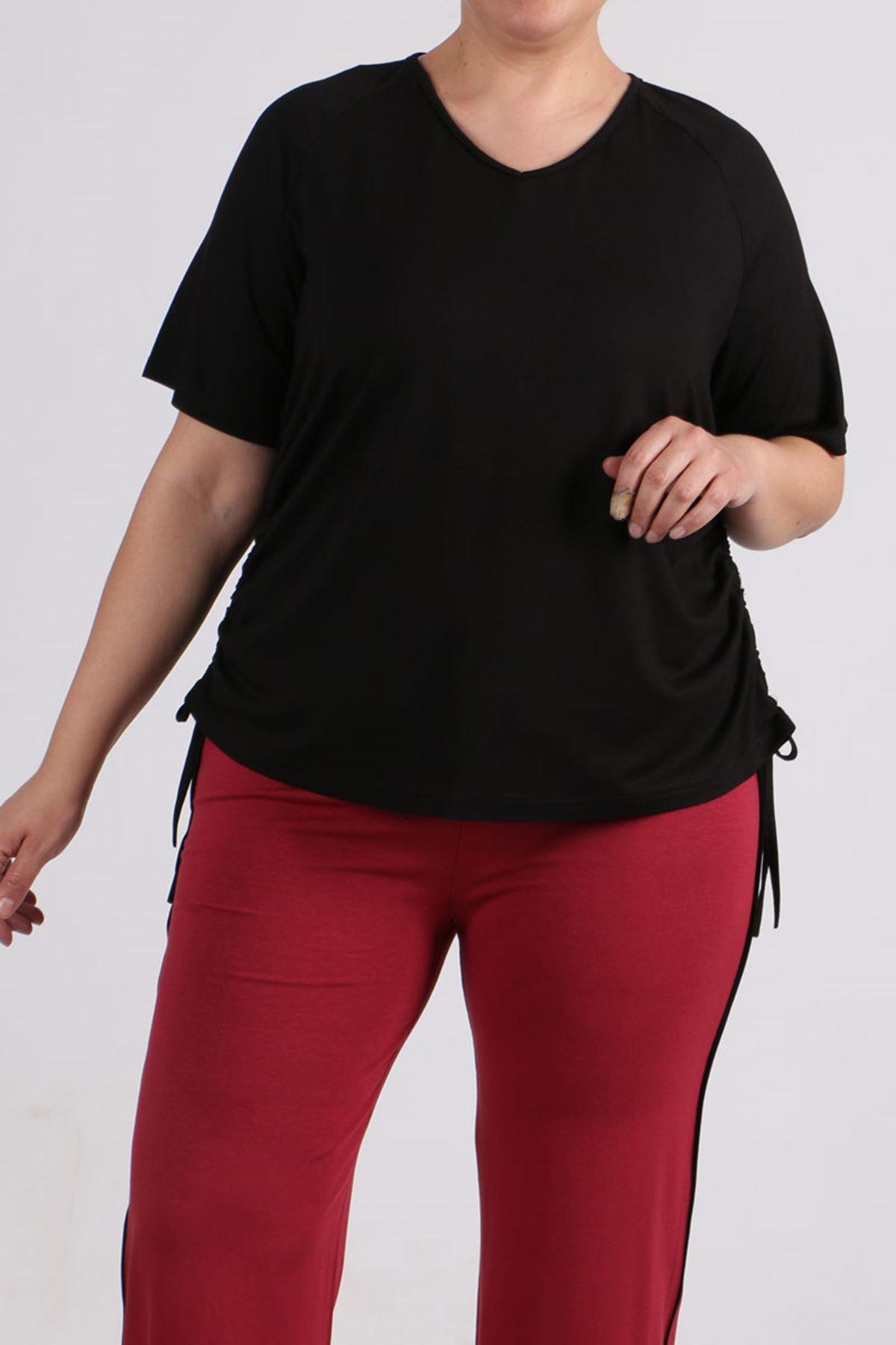 8530 Plus Size Raglan Sleeve T-Shirt - Black