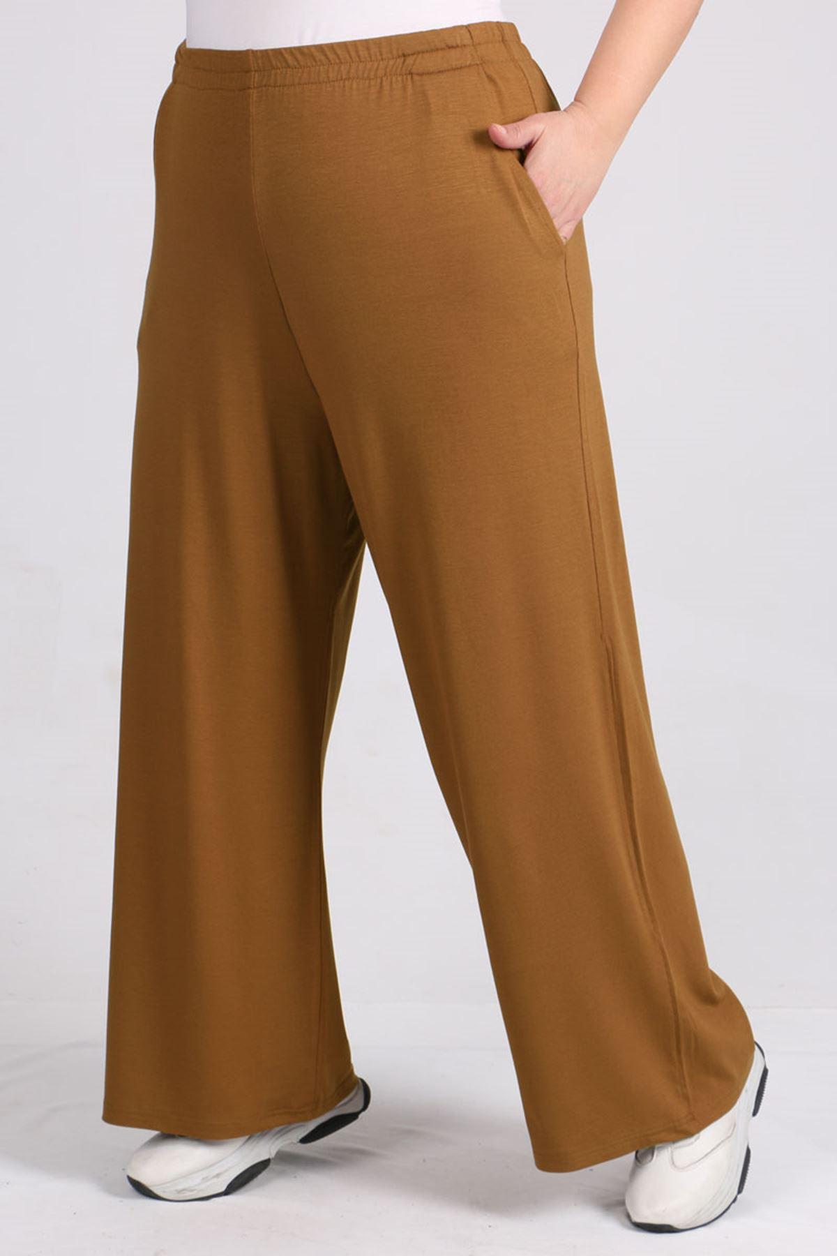 D-9012-3 Büyük Beden Defolu Beli Lastikli Penye Pantolon -Kahve