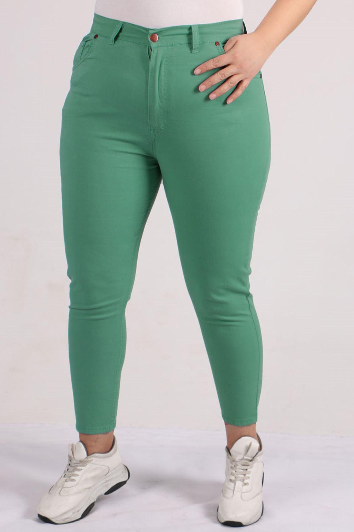 9115 Oversize Skinny Leg Pants - Naphtha Green