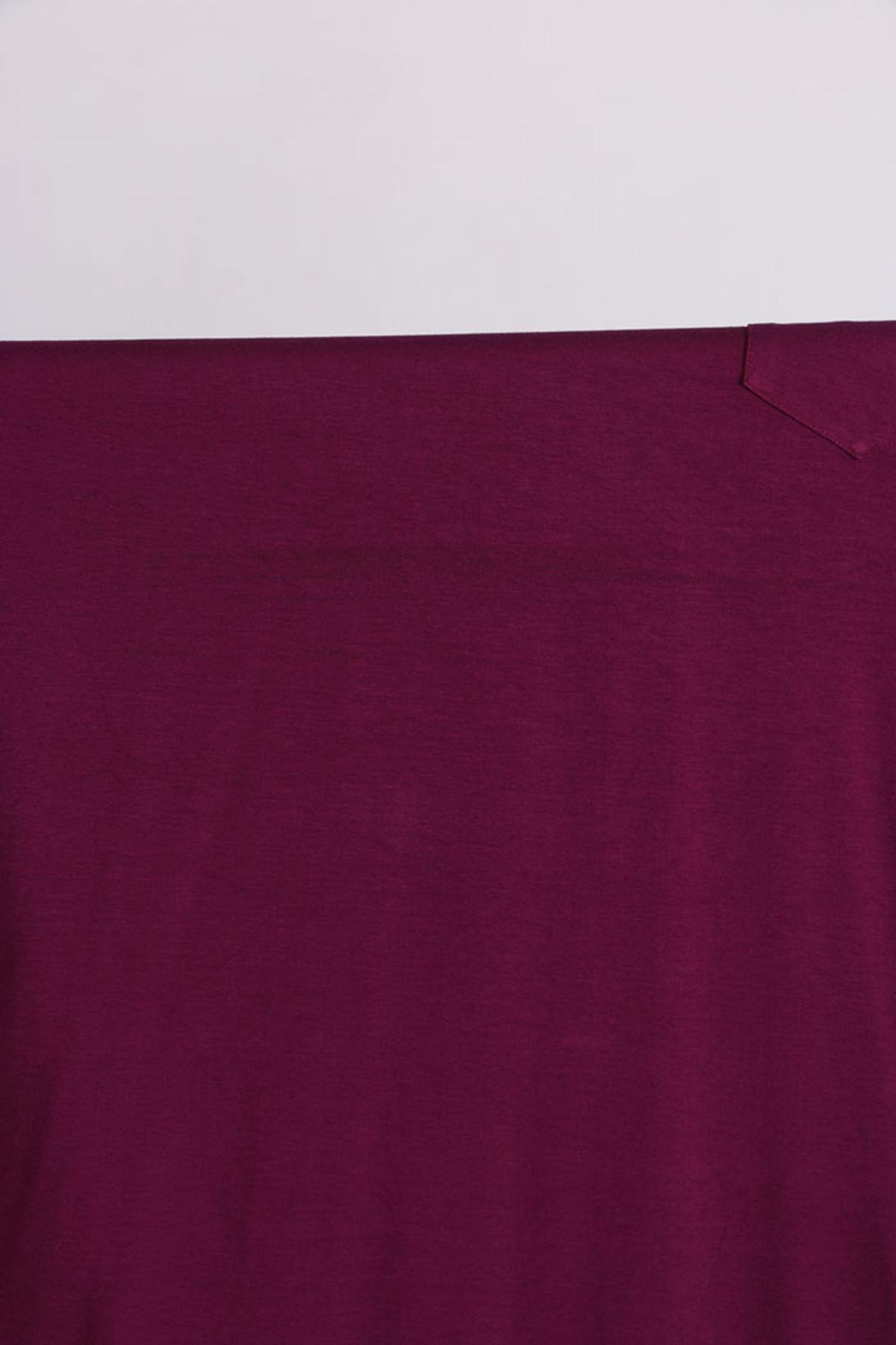 D-17526-3 Büyük Beden Penye Tunik-Leylak