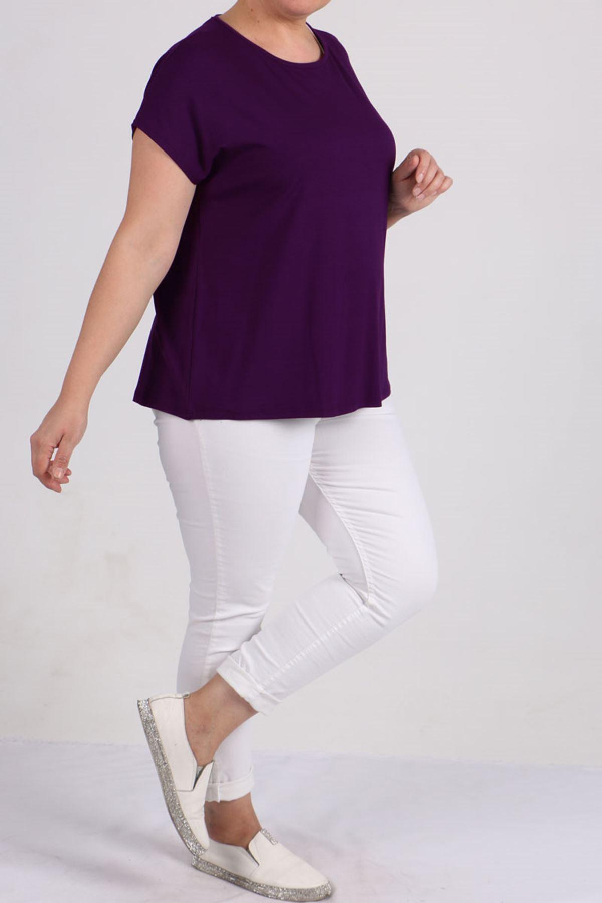 8531 Plus Size Basic T-shirt - Purple