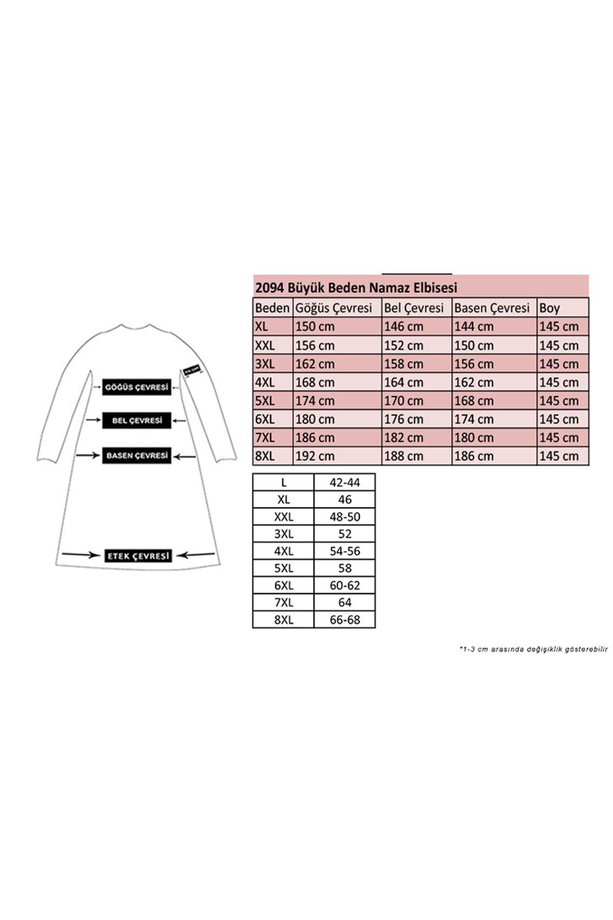 2094 ملابس صلاة بمقاسات كبيرة - اسود