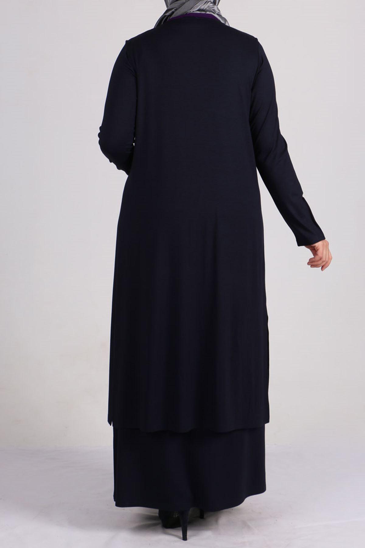 7211 طقم فستان و سترة بدون أكمام  مقاس كبير - أحمر كلاريت