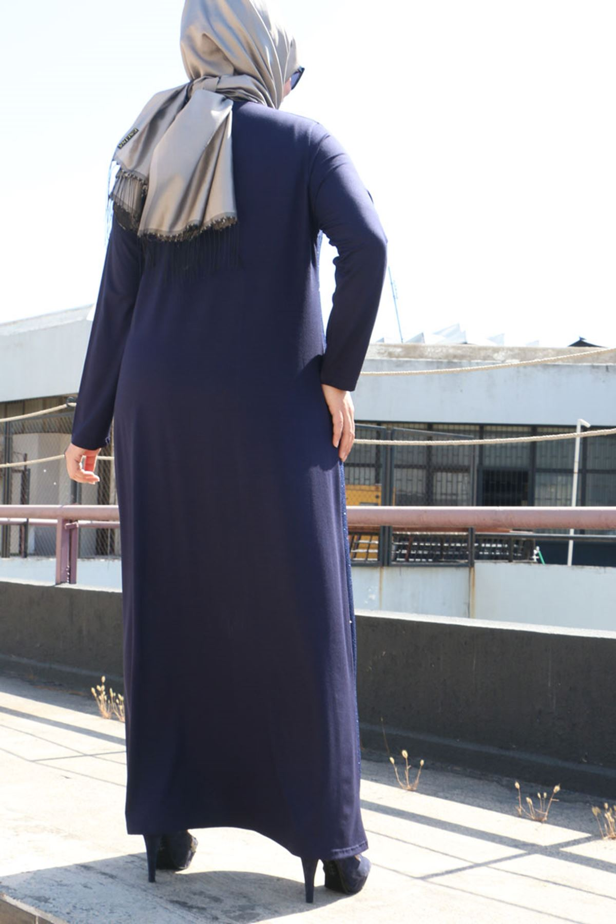 2092 فستان مقاس كبير- كحلي-