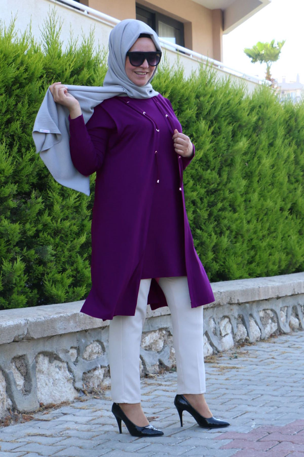 7905 Plus Size Two-Piece Set with Vest and Tunic  - Purple