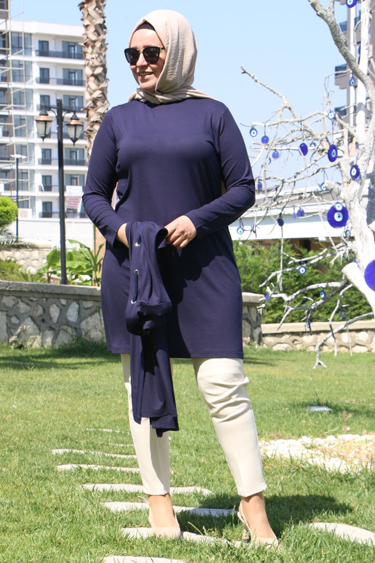 7905 Plus Size Two Piece Set with Vest and Tunic-  Navy Blue