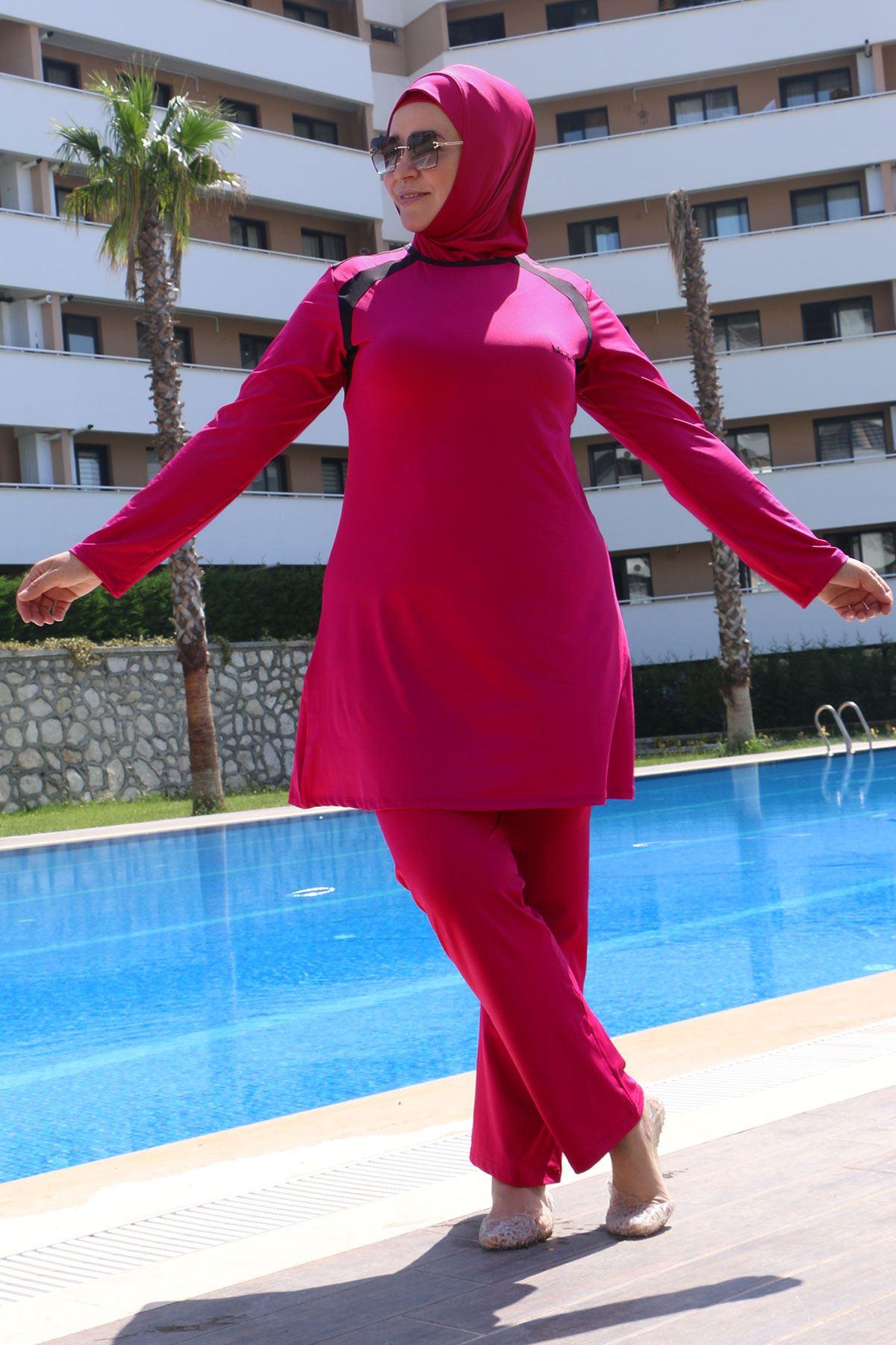 3215 ملابس سباحة  مقاس كبير للمحجبات - برقوقي