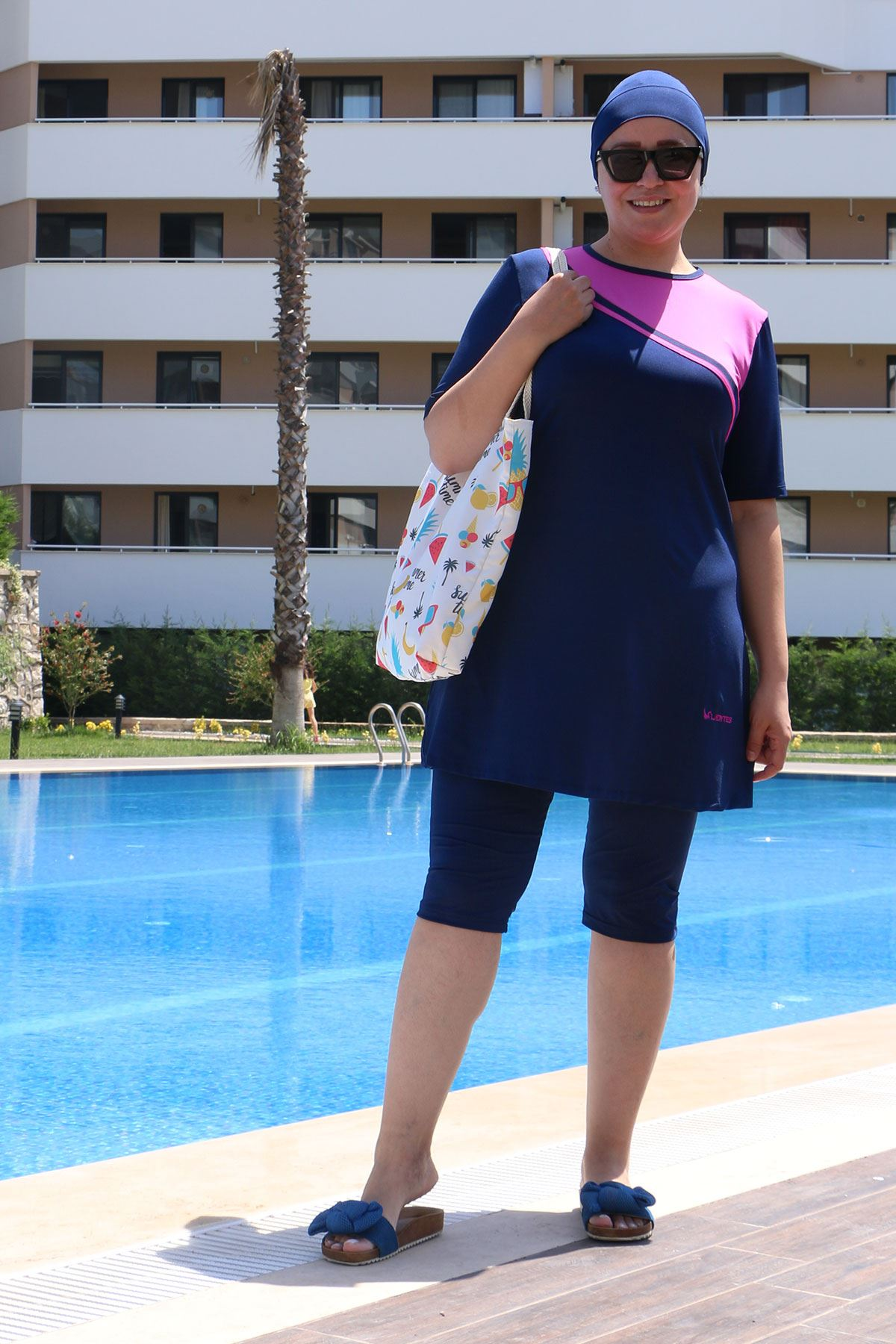 2335 Plus Size Front Striped Half Covered Swimsuit - Navy Blue