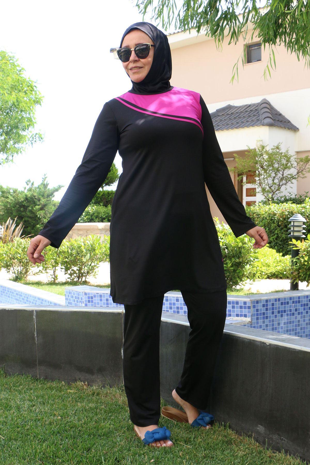 3205 ملابس سباحة مقاس كبير للمحجبات - اسود