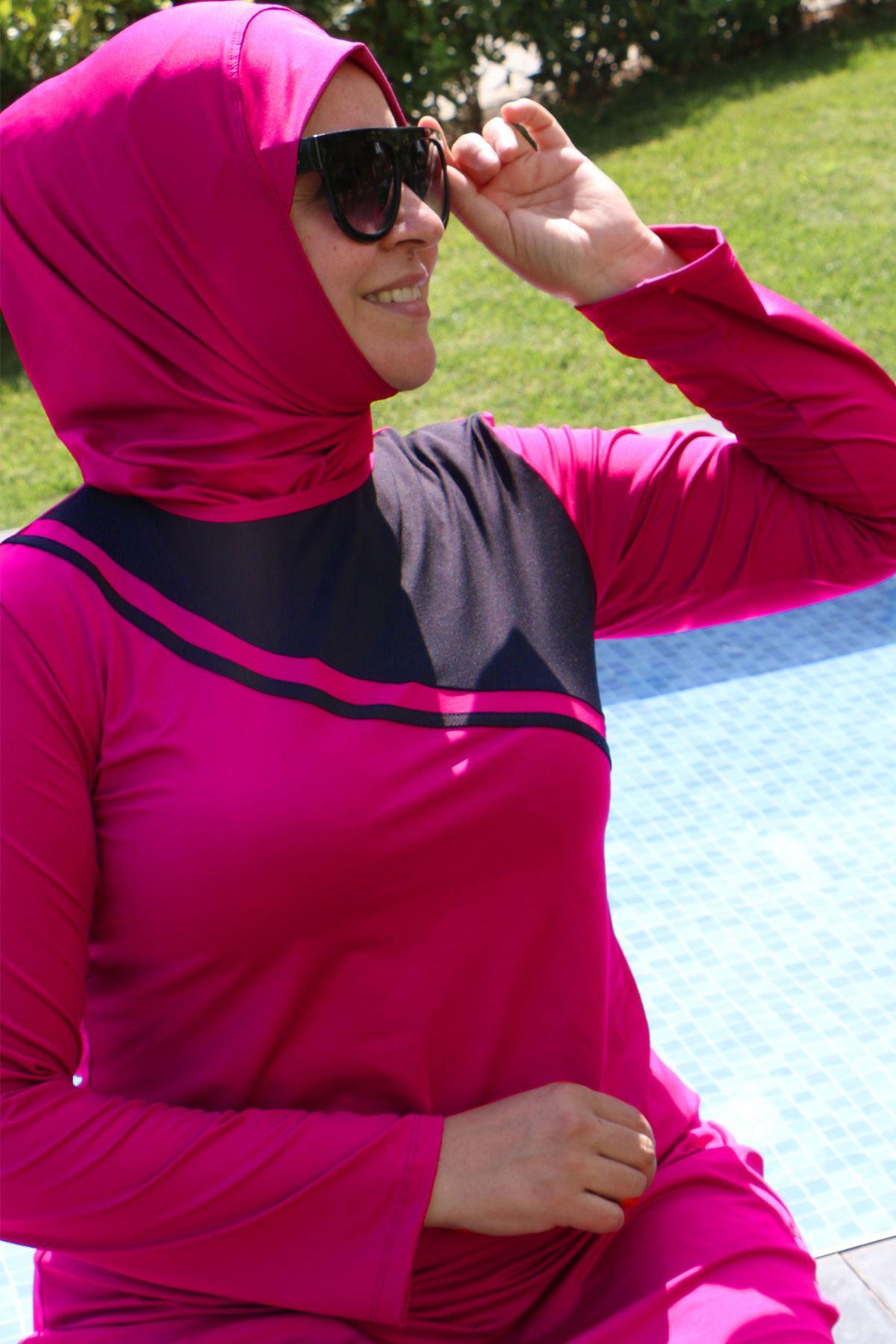 3205 Plus Size Front Striped Hijab Swimsuit - Fuchsia