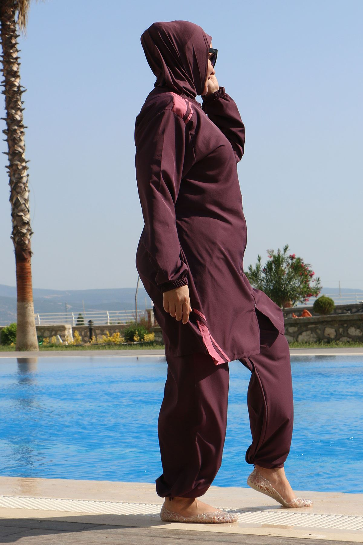 3405 Plus Size Stoppered Hijab Swimsuit - Violet