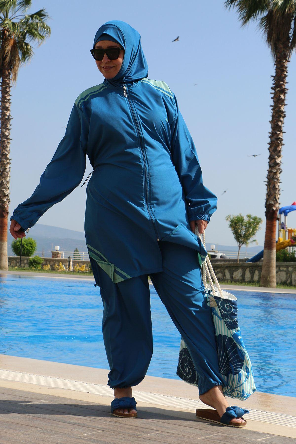 3405 ملابس السباحة بالساق مطاطي و مقاس كبير - لون ازرق بترولي