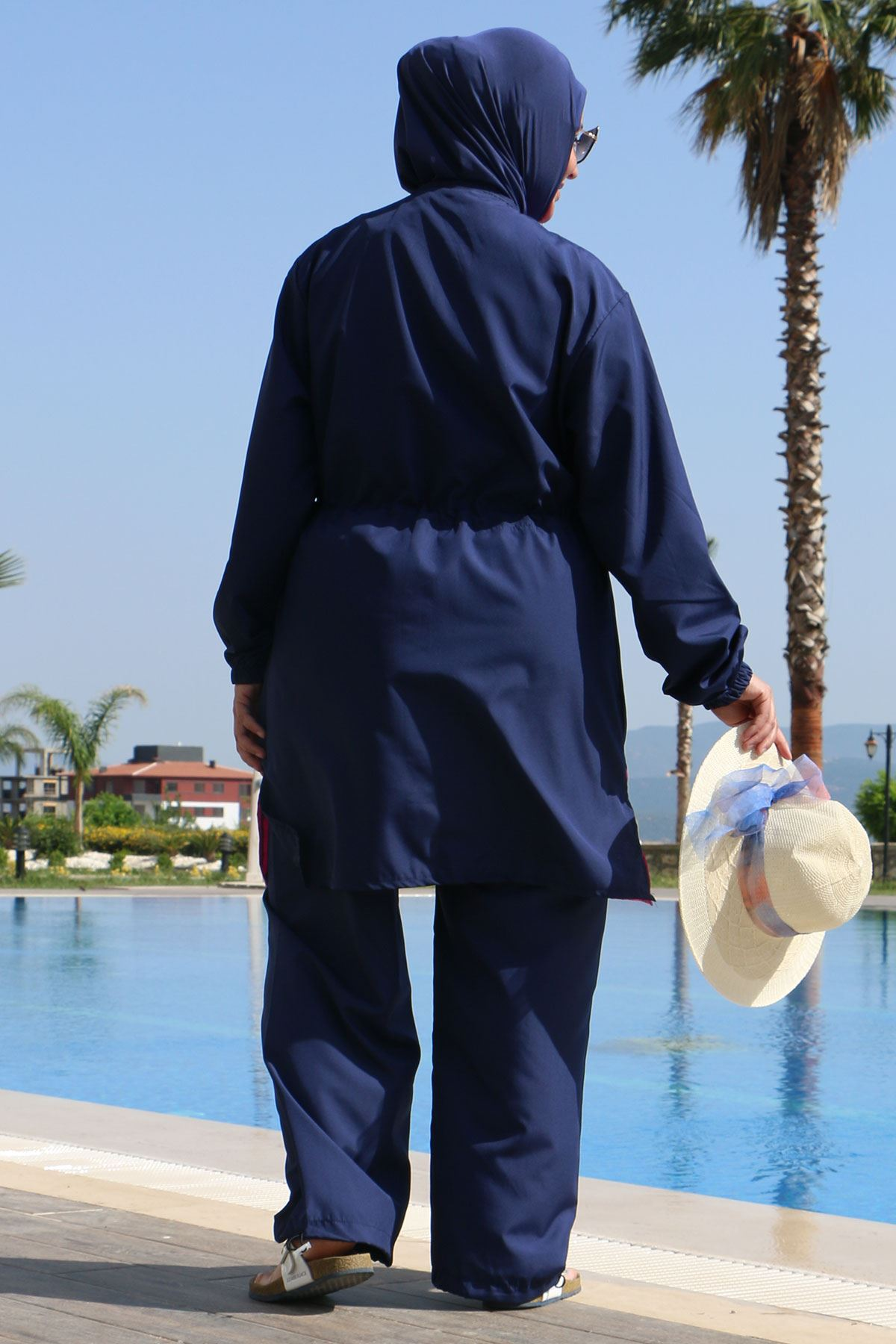 3405 Plus Size Stoppered Hijab Swimsuit - Navy Blue