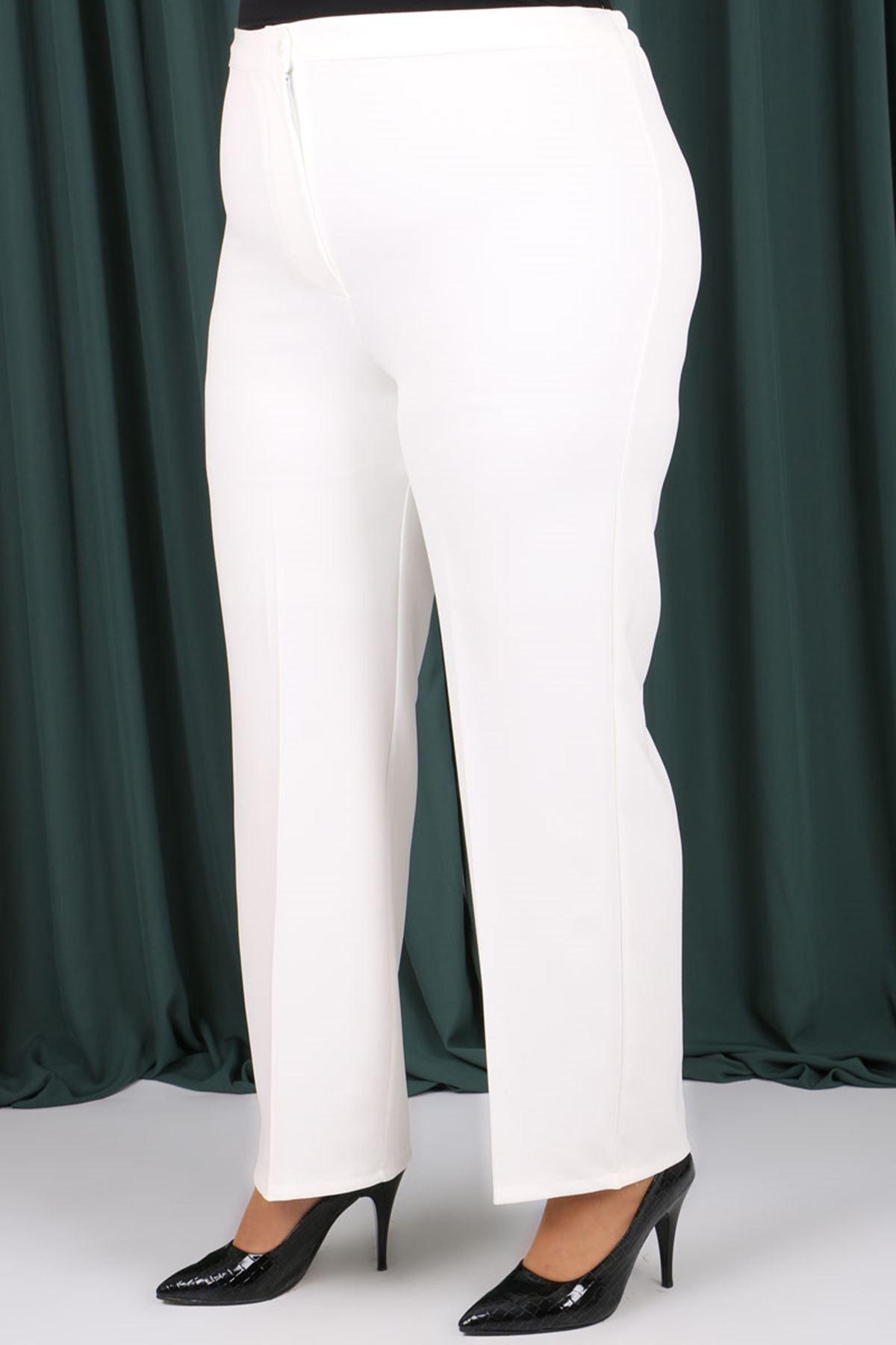 9008-1  Plus Size Elastic Waist Pants - Ecru