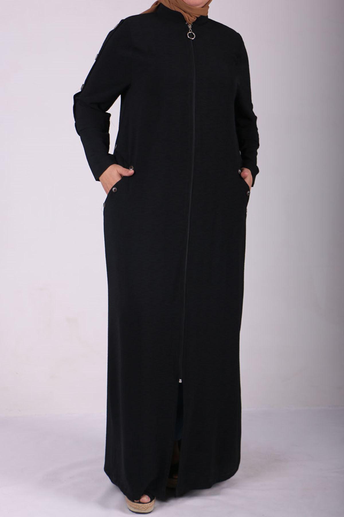 6036 Plus Size Button Detailed Topcoat-Black